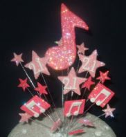 Music notes 21st birthday cake topper decoration in shades of pink - free postage